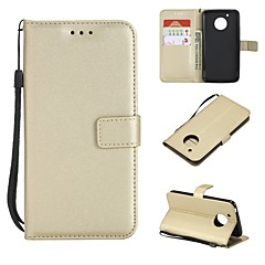 Недорогие Чехлы и кейсы для Motorola-Кейс для Назначение Motorola G5 Plus / G5 Кошелек / Бумажник для карт / Флип Чехол Однотонный Твердый Кожа PU для Moto G5s Plus / Moto G5s / Мото G5 Plus