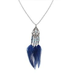 preiswerte Halsketten-Damen Lang Anhängerketten  -  Harz Feder Stilvoll, Retro, Ethnisch Rot, Blau, Leicht Grün 70 cm Modische Halsketten 1pc Für Alltag, Verabredung
