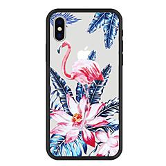 Недорогие Кейсы для iPhone 5-Кейс для Назначение Apple iPhone X / iPhone 8 Plus С узором Кейс на заднюю панель Растения / Фламинго / Цветы Твердый Акрил для iPhone X / iPhone 8 Pluss / iPhone 8