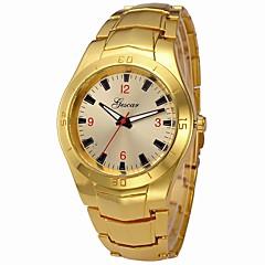 preiswerte Herrenuhren-Herrn Armbanduhr Chinesisch Armbanduhren für den Alltag / Cool / Großes Ziffernblatt Edelstahl Band Luxus / Armreif Silber / Gold