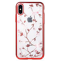 Недорогие Кейсы для iPhone-Кейс для Назначение Apple iPhone X / iPhone 8 Стразы / Покрытие / Рельефный Кейс на заднюю панель Цветы Твердый ПК для iPhone X / iPhone 8 Pluss / iPhone 8