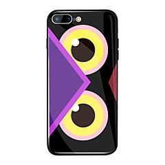 Недорогие Кейсы для iPhone 6 Plus-Кейс для Назначение Apple iPhone X / iPhone 8 Plus Зеркальная поверхность / С узором Кейс на заднюю панель Мультипликация Твердый ТПУ / Закаленное стекло для iPhone X / iPhone 8 Pluss / iPhone 8