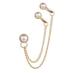 preiswerte Ohrringe-Damen Quaste Klips Ohr-Stulpen - Künstliche Perle Welle Quaste, Retro, Böhmische Weiß Für Party / Abend Geschenk