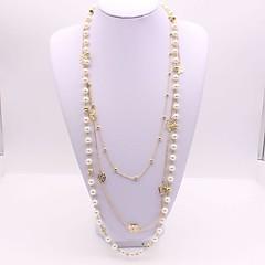 preiswerte Halsketten-Damen Lang Layered Ketten - Künstliche Perle Blume Klassisch, Modisch Gold 56+5 cm Modische Halsketten 1pc Für Alltag
