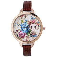 preiswerte Damenuhren-Xu™ Damen Kleideruhr / Armbanduhr Chinesisch Kreativ / Armbanduhren für den Alltag / lieblich PU Band Blume / Modisch Schwarz / Blau / Rot / Großes Ziffernblatt / Ein Jahr