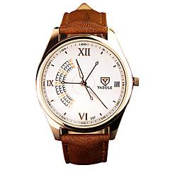 preiswerte Herrenuhren-YAZOLE Herrn Armbanduhr Nachts leuchtend / Armbanduhren für den Alltag PU Band Luxus / Freizeit Schwarz / Braun