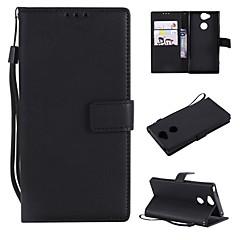 Недорогие Чехлы и кейсы для Sony-Кейс для Назначение Sony Xperia L2 / Xperia L1 Кошелек / Бумажник для карт / Флип Чехол Однотонный Твердый Кожа PU для Xperia XZ1 Compact / Sony Xperia XZ1 / Sony Xperia XZ