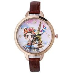 preiswerte Damenuhren-Xu™ Damen Kleideruhr / Armbanduhr Chinesisch Kreativ / Armbanduhren für den Alltag / lieblich PU Band Blume / Eiffelturm Schwarz / Blau / Rot / Großes Ziffernblatt / Ein Jahr