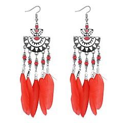preiswerte Ohrringe-Damen Lang Tropfen-Ohrringe - Feder Retro, Ethnisch, Modisch Regenbogen / Rot / Blau Für Party / Ausgehen