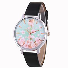 preiswerte Damenuhren-Damen Armbanduhr Chinesisch Armbanduhren für den Alltag / lieblich PU Band Blume / Mehrfarbig Schwarz / Weiß / Blau