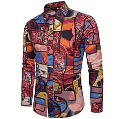 저렴한 남성 셔츠-남성용 컬러 블럭 프린트 - 셔츠, 베이직