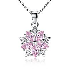preiswerte Halsketten-Damen Kubikzirkonia Klassisch Anhängerketten - Blume Süß, Modisch Weiß, Rosa 45 cm Modische Halsketten 1pc Für Party, Alltag
