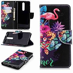Недорогие Чехлы и кейсы для Nokia-Кейс для Назначение Nokia Nokia 5.1 / Nokia 3.1 Кошелек / Бумажник для карт / со стендом Чехол Фламинго Твердый Кожа PU для Nokia 5 / Nokia 3 / Nokia 2.1