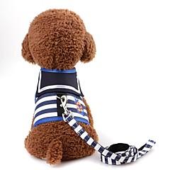 お買い得  犬用首輪/リード/ハーネス-ネズミ / 犬用 / 猫用 ハーネス / リード 携帯用 / ミニ / ウォーキング 縞柄 テリレン レッド / 海軍