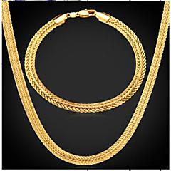abordables Joyería Bañada en Oro-Hombre Elegante Conjunto de joyas - Chapado en Oro Neumático Moda Incluir Collar vintage Dorado Para Diario Fiesta de Noche