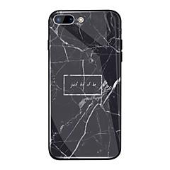 Недорогие Кейсы для iPhone 7 Plus-Кейс для Назначение Apple iPhone X / iPhone 8 Plus Зеркальная поверхность / С узором Кейс на заднюю панель Слова / выражения / Мрамор Твердый ТПУ / Закаленное стекло для iPhone X / iPhone 8 Pluss