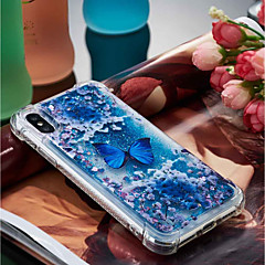 Недорогие Кейсы для iPhone 6 Plus-Кейс для Назначение Apple iPhone X / iPhone 8 Plus Защита от удара / Движущаяся жидкость / Прозрачный Кейс на заднюю панель Бабочка Мягкий ТПУ для iPhone X / iPhone 8 Pluss / iPhone 8