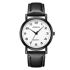 preiswerte Damenuhren-Geneva Damen Armbanduhr Quartz Neues Design Armbanduhren für den Alltag Cool Leder Band Analog Freizeit Modisch Schwarz / Braun - Schwarz / Braun Schwarz / Weiß Weiß / Braun Ein Jahr