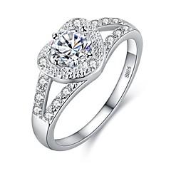 abordables Joyería de Plata-Mujer Zirconia Cúbica Elegante Anillo - S925 Sterling Silver Corazón Elegante, Coreano 6 / 7 / 8 / 9 Plata Para Regalo Cita