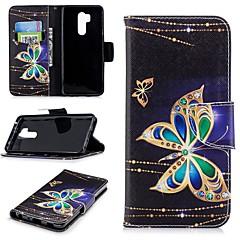 Недорогие Чехлы и кейсы для LG-Кейс для Назначение LG G7 Кошелек / Бумажник для карт / со стендом Чехол Бабочка Твердый Кожа PU для LG G7