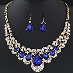 cheap Jewelry Sets-Women's Crystal Hollow Jewelry Set - Rhinestone Drop Luxury, Sweet, Fashion Include Drop Earrings Statement Necklace Red / Blue / Champagne For Wedding Evening Party