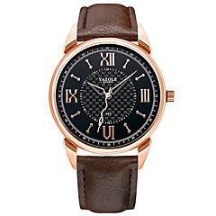 お買い得  メンズ腕時計-YAZOLE 男性用 リストウォッチ クォーツ 夜光計 カジュアルウォッチ クール PU バンド ハンズ ぜいたく ミニマリスト ブラック / ブラウン - Black / Brown ブラック / ホワイト ホワイト / ベージュ