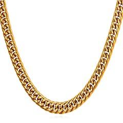 Недорогие Ожерелья-Муж. Толстая цепь Ожерелья-цепочки - Нержавеющая сталь модный, Мода Золотой, Черный, Серебряный 55 cm Ожерелье 1шт Назначение Подарок, Повседневные