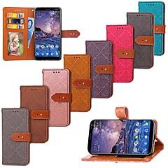 Недорогие Чехлы и кейсы для Nokia-Кейс для Назначение Nokia Nokia 7 Plus / Nokia 6 2018 Кошелек / Бумажник для карт / со стендом Чехол Плитка Твердый Кожа PU для Nokia 7 Plus / Nokia 6 2018
