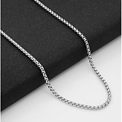 Недорогие Ожерелья-Муж. Одинарная цепочка Ожерелья-цепочки - Титановая сталь европейский Серебряный 55 cm Ожерелье Бижутерия 1шт Назначение Повседневные