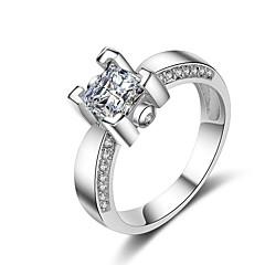 preiswerte Ringe-Damen Kubikzirkonia Stapel Ring / Verlobungsring - Platiert Romantisch, Modisch 5 / 6 / 7 Weiß Für Verlobung / Geschenk