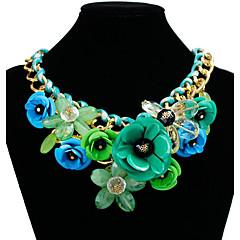preiswerte Halsketten-Damen Anhängerketten / Statement Ketten - vergoldet Blume Mehrfarbig Grün, Blau, Rosa Modische Halsketten Schmuck Für Party