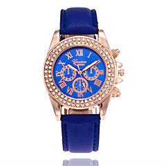 preiswerte Damenuhren-Damen Armbanduhr Quartz Armbanduhren für den Alltag PU Band Analog Modisch Schwarz / Weiß / Blau - Blau Rosa Leicht Grün