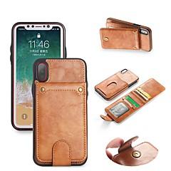 Недорогие Кейсы для iPhone X-Кейс для Назначение Apple iPhone X / iPhone 8 Кошелек / Бумажник для карт / со стендом Чехол Однотонный Твердый Кожа PU для iPhone X / iPhone 8 Pluss / iPhone 8