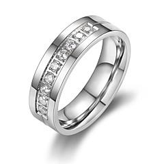 お買い得  指輪-女性用 キュービックジルコニア シングルストランド 指輪  -  チタン鋼 5 / 6 / 7 シルバー 用途 贈り物 / デート