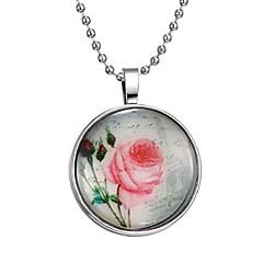 preiswerte Halsketten-Damen Leuchtender Stein Lang Anhängerketten - Blume Modisch Blau 60 cm Modische Halsketten 1pc Für Halloween, Klub