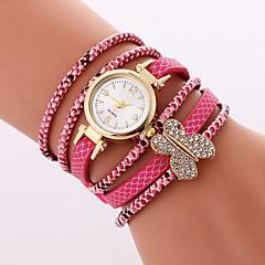 preiswerte Damenuhren-Damen Armband-Uhr Chinesisch Armbanduhren für den Alltag / Imitation Diamant PU Band Freizeit / Schmetterling Weiß / Blau / Rot
