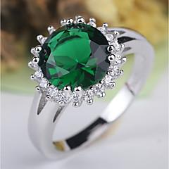 preiswerte Ringe-Damen Klassisch / Retro Ring - Platiert, Diamantimitate Kostbar Klassisch, Elegant, Britisch 6 / 7 / 8 Grün Für Hochzeit / Party
