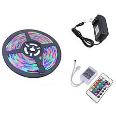 お買い得  LED ストリングライト-HKV 5m フレキシブルLEDライトストリップ / ライトセット 300 LED 3528 SMD 1 24キーリモコン / 1 x 2A電源アダプタ RGB カット可能 / 接続可 / ノンテープ・タイプ 100-240 V