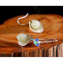 preiswerte Ohrringe-Damen Jade Vintage Stil Kreolen - S925 Sterling Silber Blume damas Ethnisch Süß Elegant Schmuck Silber Für Geschenk Verabredung 1 Paar