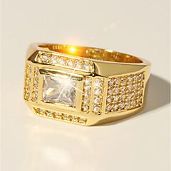 baratos Anéis-Homens Clássico Fashion Anel - Imitações de Diamante Precioso Luxo, Clássico, Fashion 7 / 8 / 9 / 10 / 11 Dourado Para Festa de Noite Encontro