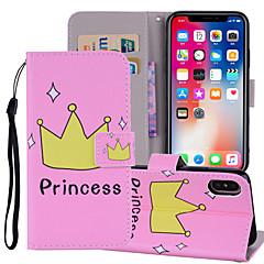 お買い得  iPhone 5S/SE ケース-ケース 用途 Apple iPhone X / iPhone 8 Plus ウォレット / カードホルダー / スタンド付き フルボディーケース ワード/文章 ハード PUレザー のために iPhone X / iPhone 8 Plus / iPhone 8