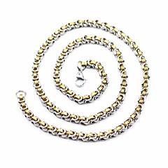 Недорогие Ожерелья-Муж. византийский Цепочка / длинное ожерелье - Титановая сталь, нержавеющий Простой, Классика Золотой + серебро 60 cm Ожерелье Бижутерия 1шт Назначение Для улицы, На выход