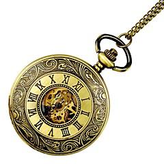 preiswerte Damenuhren-Damen Taschenuhr Automatikaufzug Gold Transparentes Ziffernblatt Armbanduhren für den Alltag Totenkopf Analog damas Luxus Totenkopf - Gold