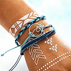 preiswerte Armbänder-Damen Vintage Stil / Geflochten / Übergang Vintage Armbänder / Yoga-Armband / Handgefertigte Gliederarmband - Welle Böhmische, Modisch, Militär Armbänder Blau Für Alltag / Party / 3 Stück