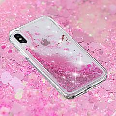 Недорогие Кейсы для iPhone 5-Кейс для Назначение Apple iPhone X / iPhone 8 Plus Движущаяся жидкость / Прозрачный / С узором Кейс на заднюю панель Цветы Мягкий ТПУ для iPhone X / iPhone 8 Pluss / iPhone 8