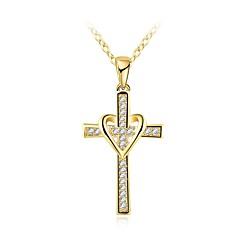 Недорогие Ожерелья-Муж. Классический / Стильные Ожерелья с подвесками - Стразы Крест Стиль Золотой 46+5 cm Ожерелье Бижутерия 1шт Назначение Повседневные