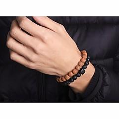 preiswerte Armbänder-Herrn Stilvoll Glasperlen Strang-Armbänder Wickelarmbänder - Kreativ Asiatisch, Einfach, Ethnisch Armbänder Schwarz Für Alltag Verabredung