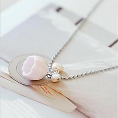 お買い得  ネックレス-女性用 真珠 スタイリッシュ シンガポール チェーンネックレス / チャームネックレス  -  真珠 フラワー レディース, スタイリッシュ, 甘い, エレガント かわいい ピンク 50 cm ネックレス ジュエリー 1個 用途 贈り物, デート