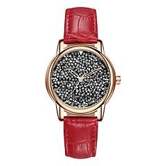 preiswerte Damenuhren-SANDA Damen Kleideruhr Armbanduhr Japanisch Quartz Schwarz / Weiß / Rot 30 m Wasserdicht Armbanduhren für den Alltag Cool Analog damas Freizeit Modisch - Braun Rot Rosa / Imitation Diamant