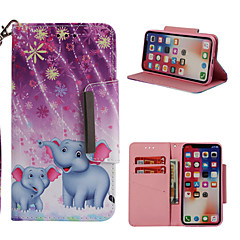 abordables Fundas para iPhone 6 Plus-Funda Para Apple iPhone X / iPhone 8 Plus Cartera / Soporte de Coche / con Soporte Funda de Cuerpo Entero Elefante Dura Cuero de PU para iPhone X / iPhone 8 Plus / iPhone 8